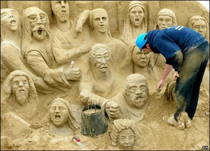 Around 60 artists have hit the beach in Brighton for one of the world's largest sand sculpture festivals.