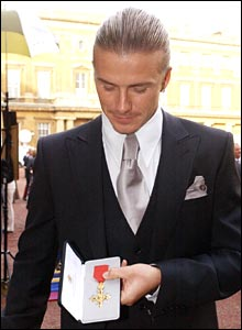 David Beckham after receiving his honour at Buckingham Palace