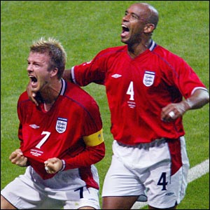 Beckham scored the winner from the penalty spot against Argentina