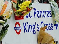 Floral tributes at King's Cross on London