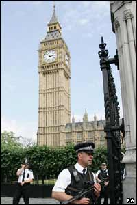 Security was tight outside the Houses Of Parliament in London