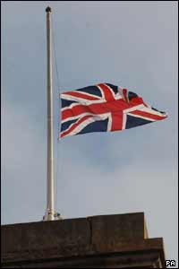 The flag at King's Cross station - where one of the four bombs went off - was flying at half-mast as a tribute to the 52 people who were killed on 7 July, 2005