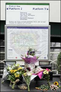 Flowers at Edgware Road tube station, where one of the bombs went off at 8.50am on 7 July, 2005