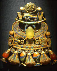 King Tutankhamun's necklace with the mysterious stone in the middle