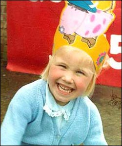 Lizzie, aged 4,  at the Queen's Jubilee celebrations in a fetching cow hat
