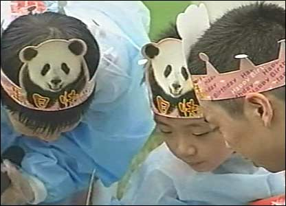 Children wearing special hats with pandas on them helped prepare the cake which was made of layers of Jing Jing's favourite food - fruit and honey