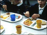 Children eating school meals