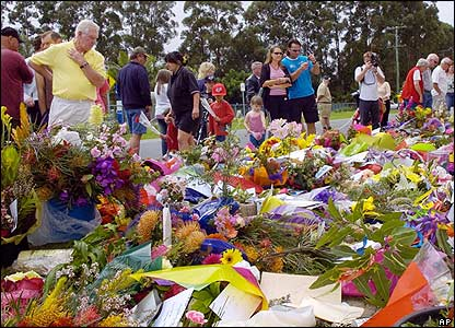This was the scene at Steve's zoo in Beerwah, Queensland, where lots of people gathered to pay their respects