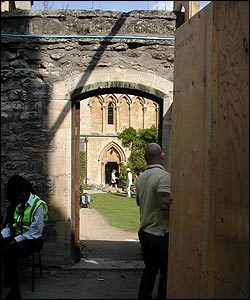This peek through the gate of Exeter College was as close as you could get to the filming going on behind the walls