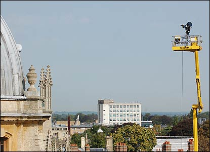 Here's the camera in the air filming over part of the Bodleian Library