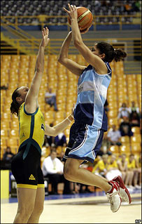 A player shoots.