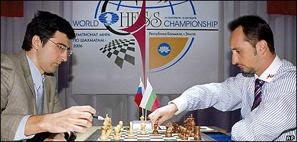Vladimir Kramnik (left) with Veselin Topalov