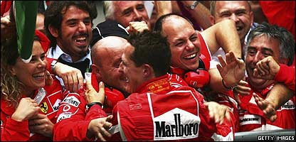 Schumacher celebrates