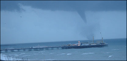 The tornado seen hovering over Brighton pier - picture by Pete Machin