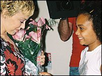 Yasmeen gives Kylie some flowers