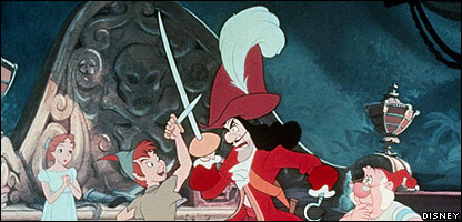 Peter Pan fights Captain Hook.