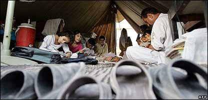 Kids at a temporary school in Pakistan