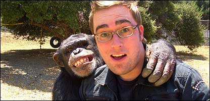 Chimps and presenter Danny Wallace