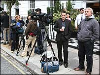 Reporters outside Madonna's London house