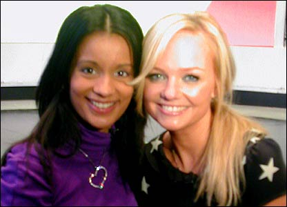 Here's Newsround's Sonali with Emma Bunton. Emma is singing this year's Children in Need song Downtown