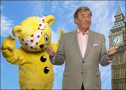 And here's a bigger version of Pudsey with radio and TV personality Terry Wogan, who's a big supporter of Children In Need
