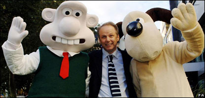 Wallace and Gromit, and their creator Nick Park