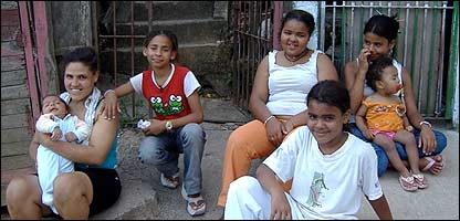 Leticia (red T-shirt) with friends