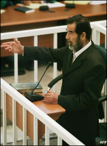 Saddam appears in a specially-built court