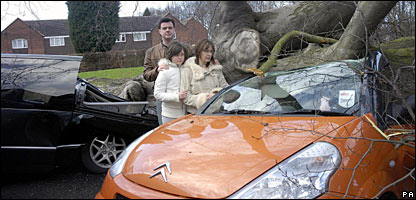 This family's car was crushed by a fallen tree at their home in Kidderminster