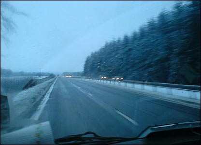 This pic was also sent in to Newsround from Scotland - it shows a snowy road as seen though a windscreen!