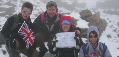 Press Packer Jack with mum and sisters Chloe and Lucy on Ben Nevis