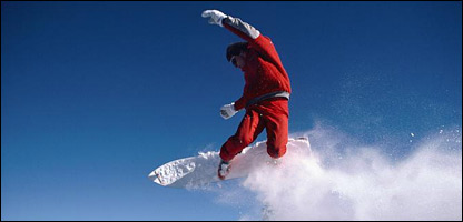 A snowboarder