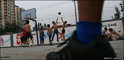 Kids playing basketball in China