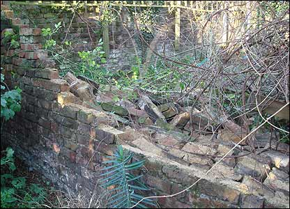 Newsround's Ellie took this photo of her garden wall which was blown down in Thursday's storms.