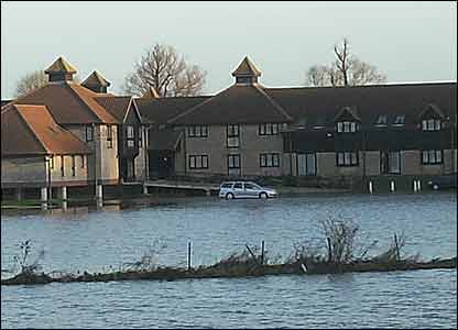 Danny sent in this picture of a car park in St. Ives in Cambridgeshire. It looks more like a lake than a car park!
