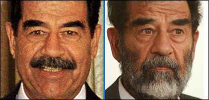 Saddam Hussein is shown (left) in 2001 and (right) in 2004