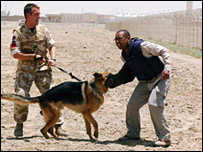 Lizo being attacked by a military guard dog