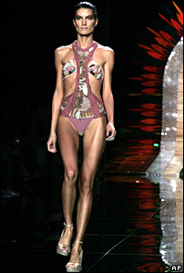 Model on a catwalk in 2006