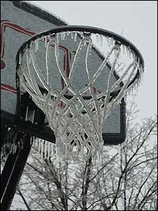 Check out this frozen basket ball net, also sent in by Caitlin.