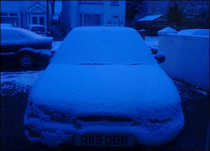 Jay, 8, from Southall sent in this snap of his family car covered in snow.
