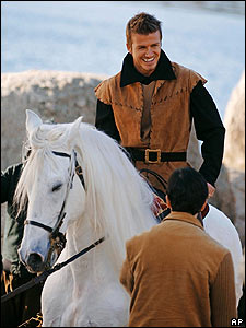 Becks dressed up as the prince from the fairytale Sleeping Beauty - he even rode a big white horse for the photo shoot!