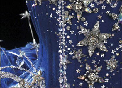 Close up of Kylie's Showgirl costume - Gift of Kylie Minogue, 2004, Performing Arts Collection, Melbourne Arts Centre