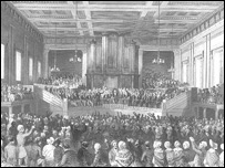 Anti-slavery meeting in Exeter Hall, Exeter, in 1841