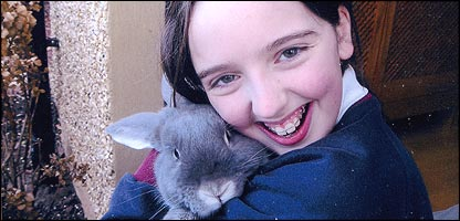 Joanna and her pet rabbit Thumper