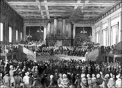 Anti-slavery protests at Exeter Hall, Exeter, in 1841
