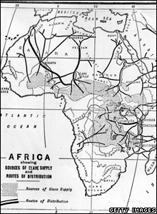A map showing the routes for transporting people who were captured to be slaves