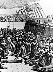 Drawing shows the crowded deck of a slave ship in 1750