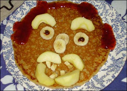 Aonghas, 7,  from  North Yorkshire sent in this pic of his pancake - looks quite scary!