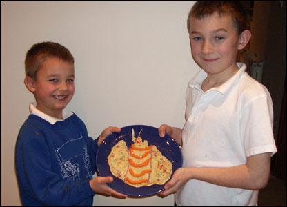 Jordan, aged five, and Jack, aged eight, made this bug-shaped pancake - it almost looks too good to eat!