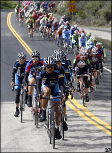 These cyclists are all pedalling furiously to finish first in the fourth stage of the Tour of California cycle race in America.